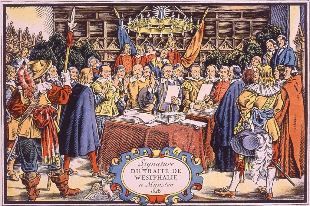Les traités de Westphalie, signés le 24 octobre 1648, mettent fin à la guerre de Trente Ans.