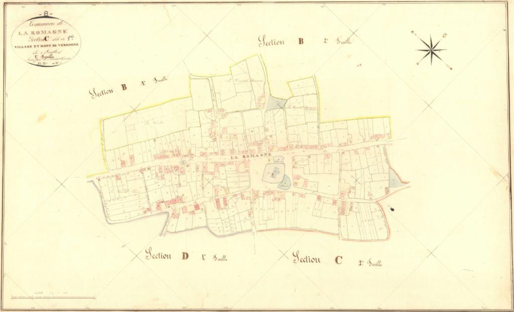 Archives départementales des Ardennes, La Romagne C1 1835, le village et le Mont de Vergogne, cadastre ancien, plan parcellaire, consultable en ligne.