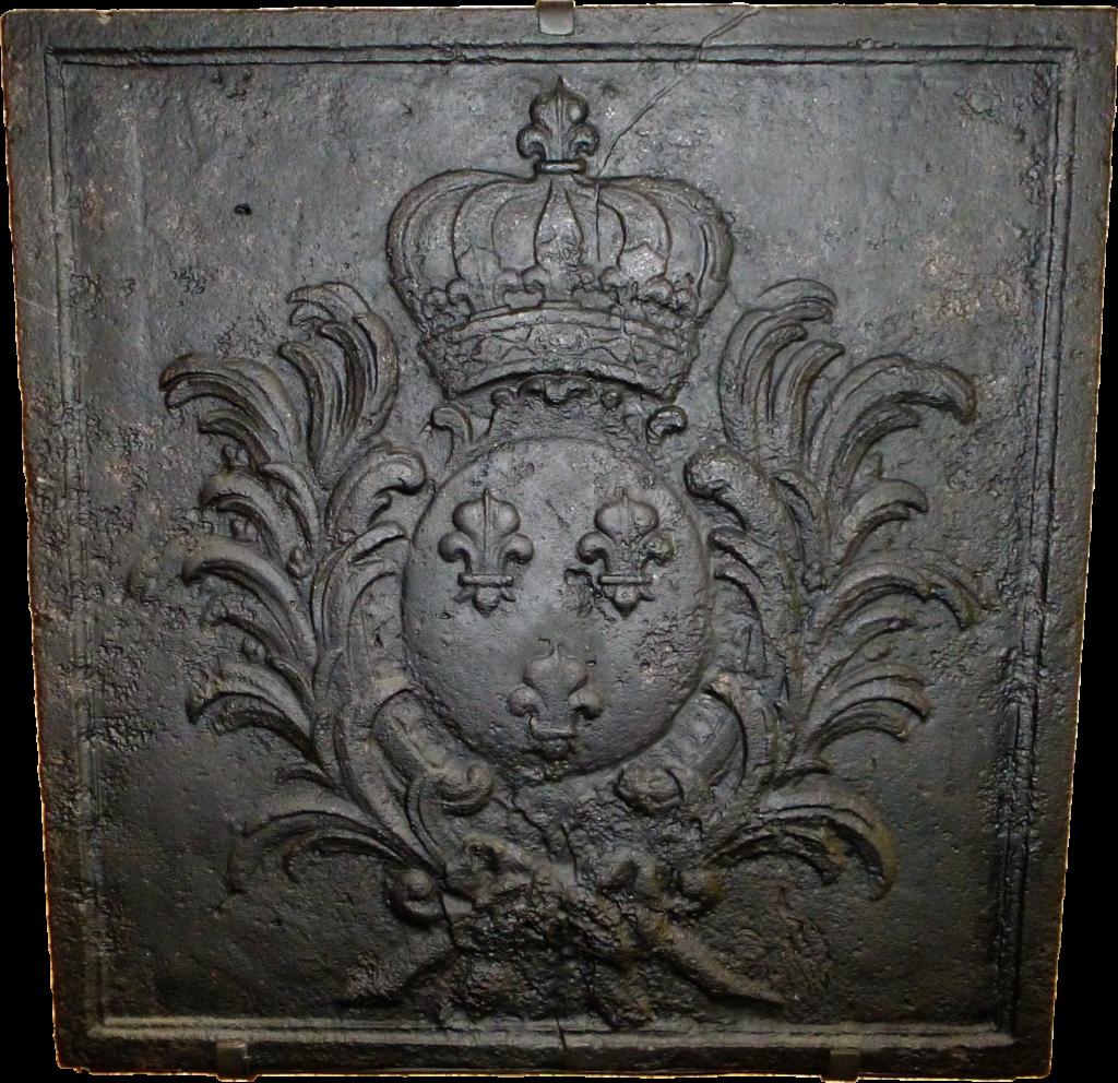 Plaque de cheminée en fonte de la maison carrée de la Cour Avril (collection privée, avec l'aimable autorisation de monsieur Jean et madame Marie-Paule Vergneaux).