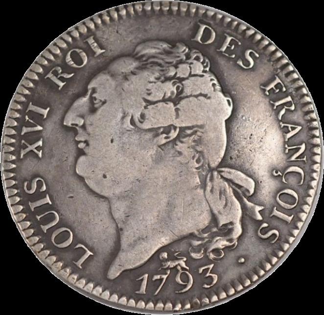 Ecu en argent de six livres françaises datant de 1793 (avers).