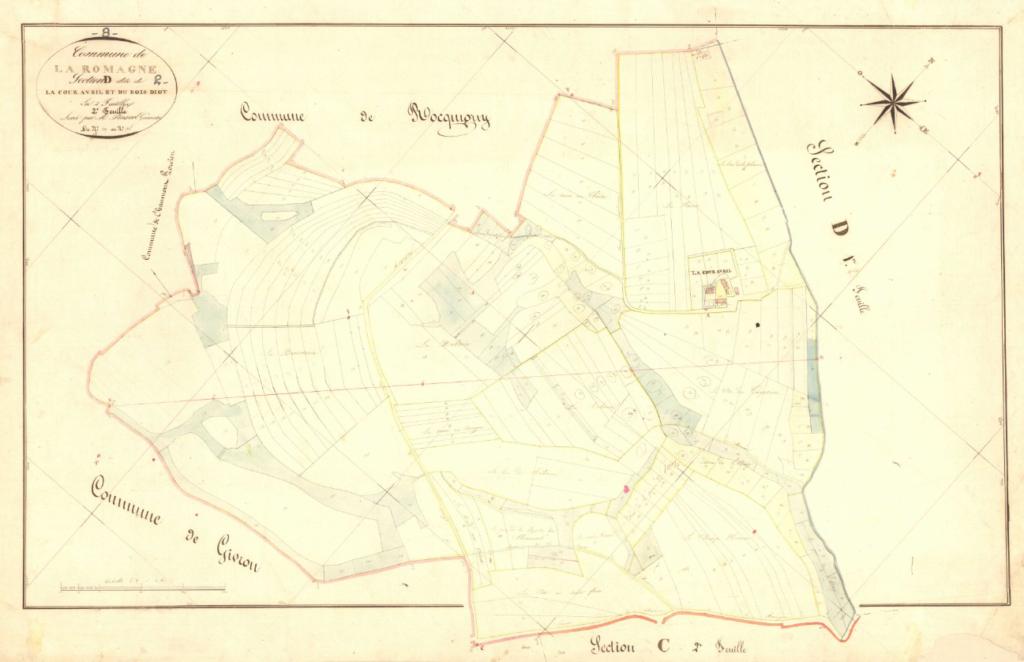 Archives départementales des Ardennes, La Romagne D2 1835, la Cour Avril et le Bois Diot, cadastre ancien, plan parcellaire, consultable en ligne.