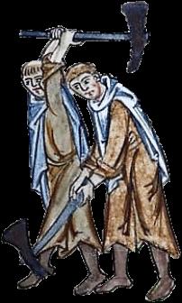 Cambridge University Library, MS Mm.5.31, vue 229/419, Alexandre le Minorite (commentateur), Expositio in Apocalypsim, moines cisterciens au travail, parchemin, codex, folio 113, consultable en ligne.
