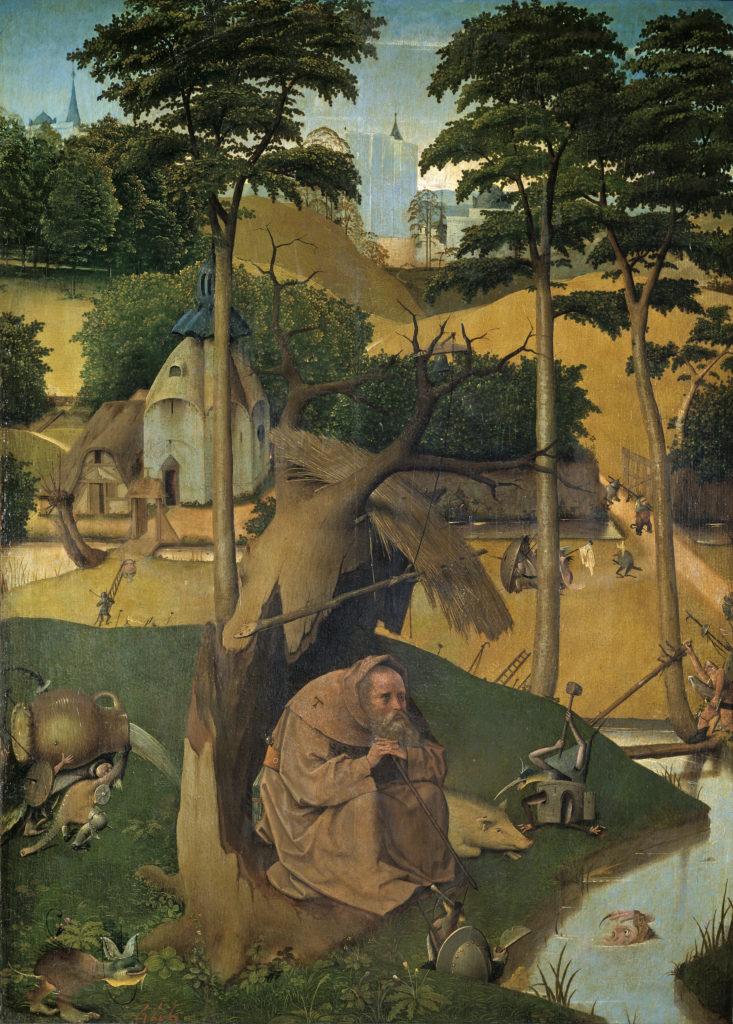 Museo del Prado (Madrid), numéro d'inventaire P002049, Bosch, Jérôme, la Tentation de saint Antoine, [le Petit saint Antoine], huile sur panneau datée d'après 1490 [mouvement primitif flamand]. Saint Antoine est le protecteur des animaux d'élevage en général et du porc en particulier.