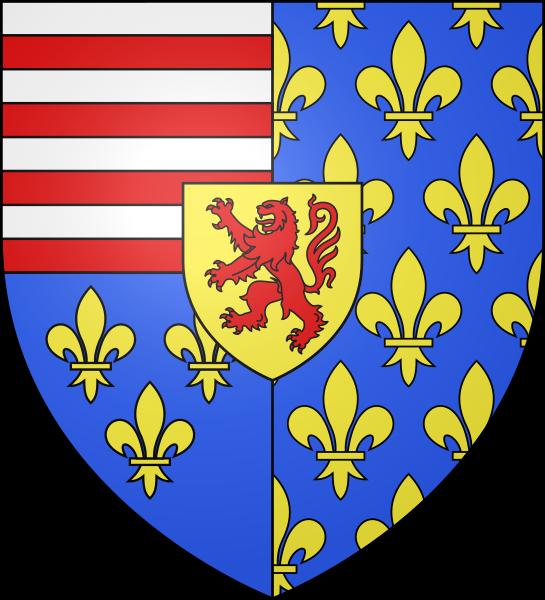 Le blason régional de la Thiérache est parti, en un coupé en chef fascé d'argent et de gueules de huit pièces et en pointe d'azur aux trois fleurs de lys d'or et en deux d'azur semé de fleurs de lys d'or, sur le tout d'or au lion de gueules.