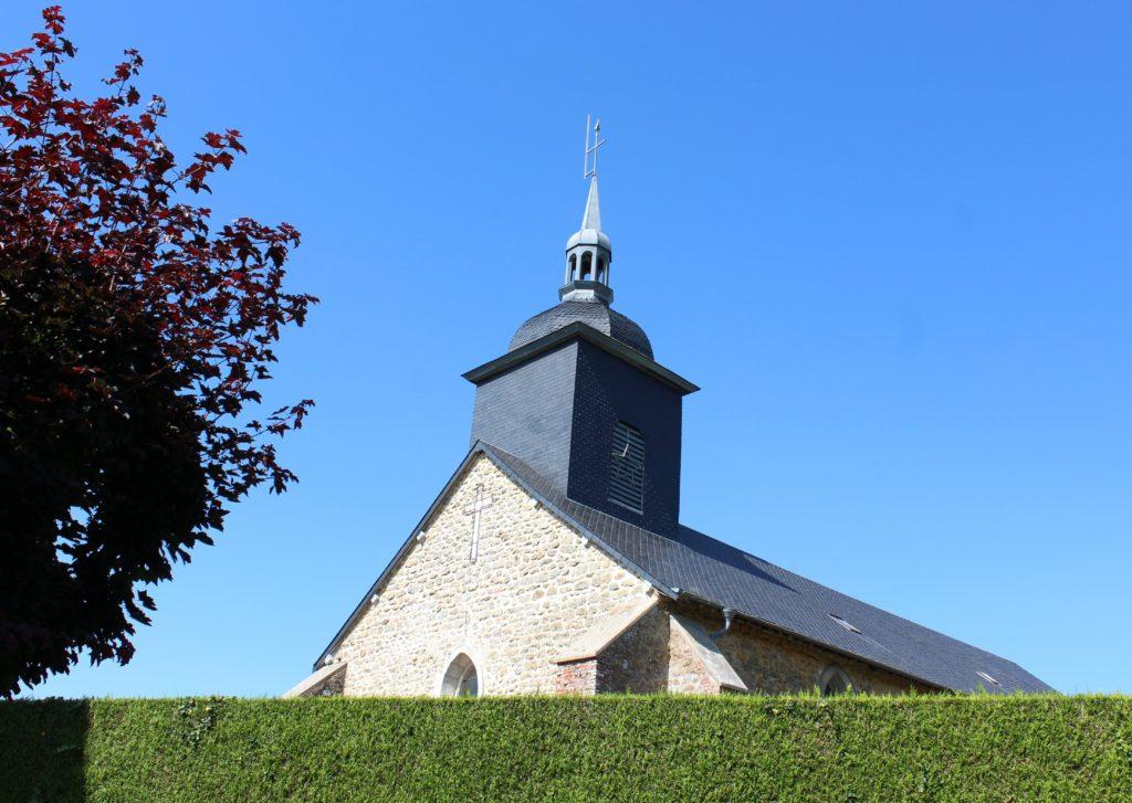 Vue extérieure de l'église de La Romagne, prise de vue effectuée le dimanche 18 juillet 2021. Crédits photographiques : © 2020 laromagne.info par Marie-Noëlle ESTIEZ BONHOMME.