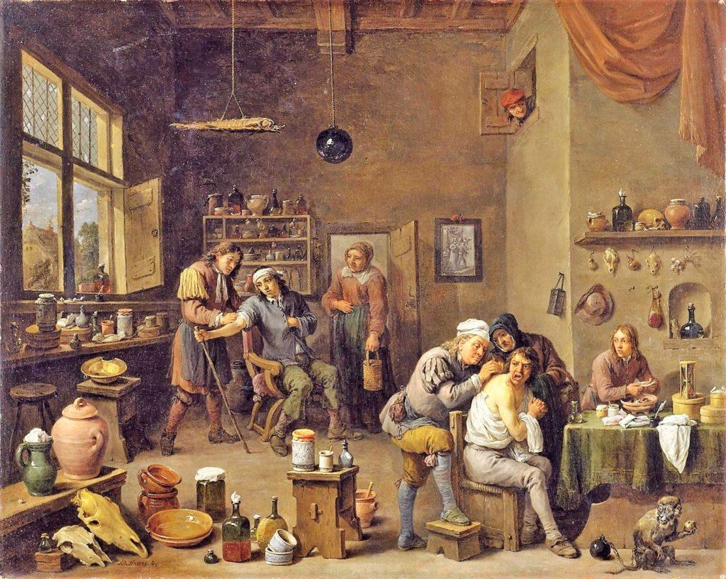 Chrysler museum (Norfolk, Virginia), numéro d'inventaire 71.480, le Chirurgien barbier par David Teniers le Jeune, vers 1670.
