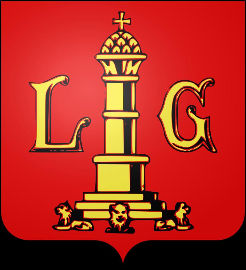 Le blason communal de Liège est de gueules à une colonne posée sur trois degrés soutenus de trois lions couchés et sommée d'une pomme de pin soutenant une croix pattée ; la dite colonne accostée à dextre de la lettre L et à senestre de la lettre G, le tout d'or.