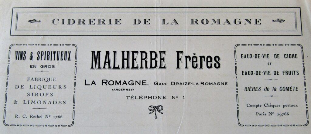 En-tête de la cidrerie Malherbe Frères, lettre datée de 1930 (mairie de La Romagne, avec l'aimable autorisation de monsieur René Malherbe, maire de la commune).