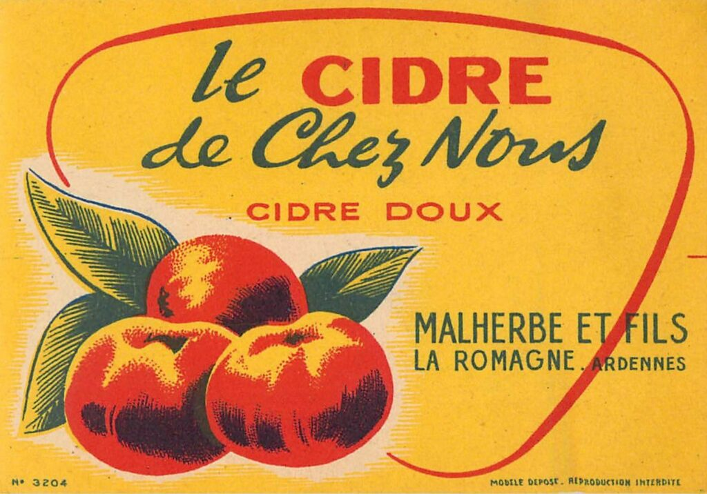 Etiquettes cidre Malherbe et fils