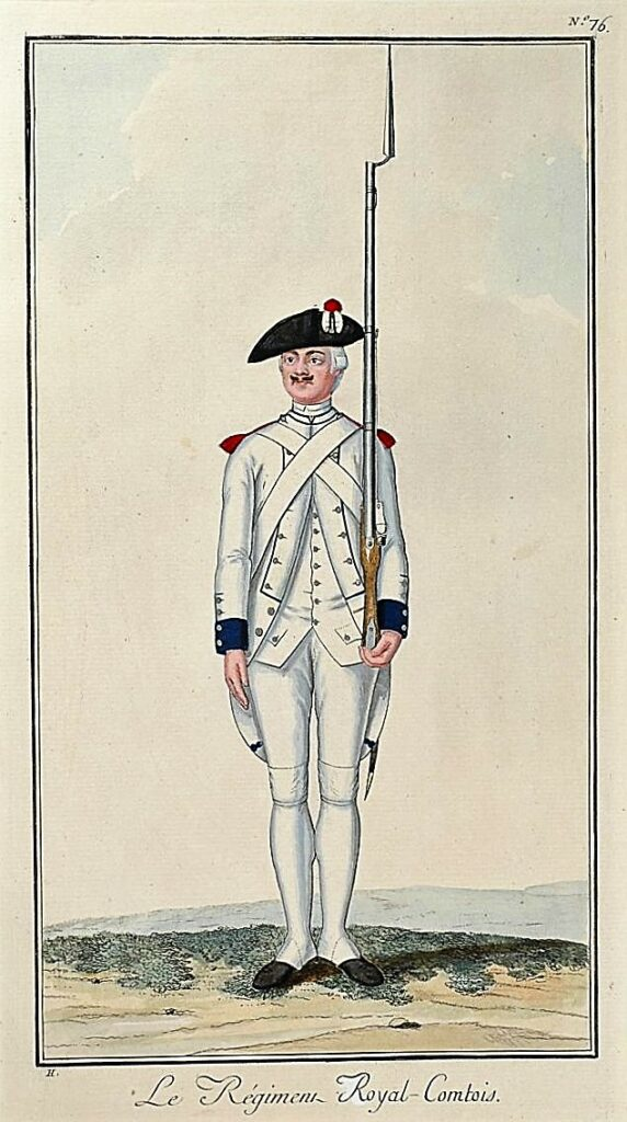 Hoffmann, Nicolas, Régiment d'Infanterie (Royal-Comtois) au règlement de 1786, planche gravée et coloriée à la gouache sur vélin, rehauts d'or et d'argent.